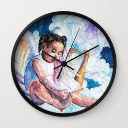Watercolor Harp Angel on Wrinkled Paper Wall Clock