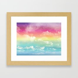 Clouds in a Rainbow Unicorn Sky Framed Art Print