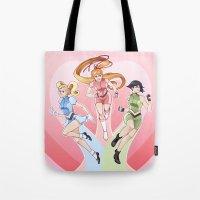 powerpuff girls Tote Bags featuring The Powerpuff Girls by Elizabeth Beals