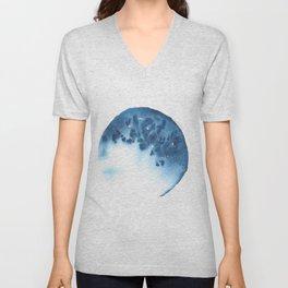 Watercolor Circle Abstract Simple | Blue Blob May 38 Unisex V-Neck