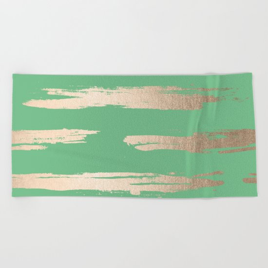 Abstract Paint Stripes Gold Tropical Green Beach Towel