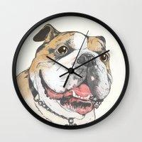 bulldog Wall Clocks featuring bulldog  by Laura Graves