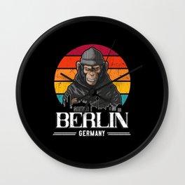 Berlin Retro Monkey Berliner Wall Clock