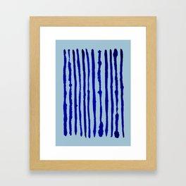 Blue Stripes Watercolor Pattern Framed Art Print