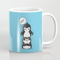 penguins Mugs featuring Penguins by Freeminds