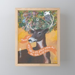 White Tail Buck Deer Antlers Floral Inspirational Quote Framed Mini Art Print