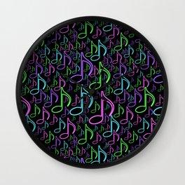 Vibrant Neon Musical Notes Random Pattern Wall Clock