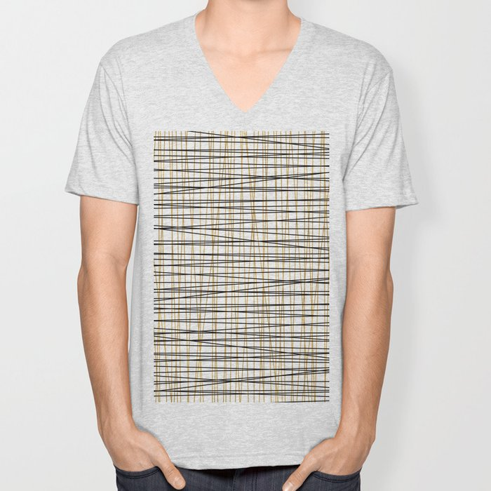 Line Art - Gold and Black Lines on White - Mix and Match with Simplicty of Life Unisex V-Neck