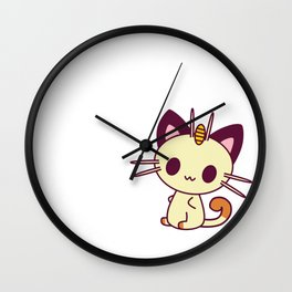 Kawaii Chibi Cat Meowth Wall Clock