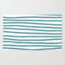 Ocean Green Hand-painted Stripes Rug
