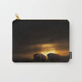 Two American Buffalo Bison with Moon Rise Carry-All Pouch