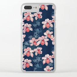 Orchid garden in peach on navy blue Clear iPhone Case