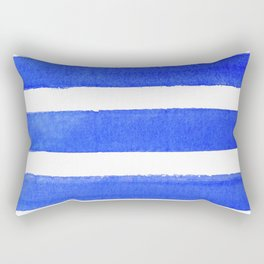Watercolor Stripes of Blue Rectangular Pillow