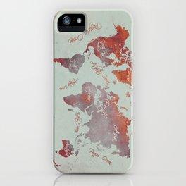 world map 142 red grey #worldmap #map iPhone Case