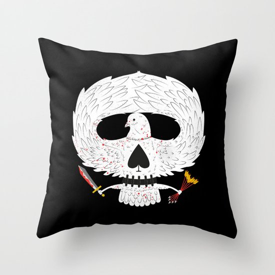 Dove of Death Throw Pillow