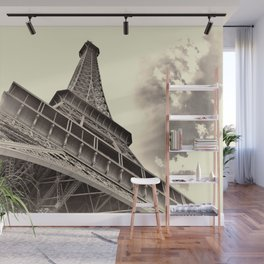 The famous Eiffel Tower in Paris, France in sepia. Vintage photography Wall Mural