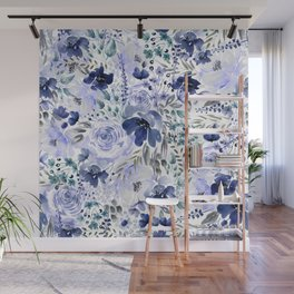 Floral Chaos - Blue Wall Mural