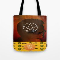 dean winchester Tote Bags featuring dean winchester by Papa-Paparazzi