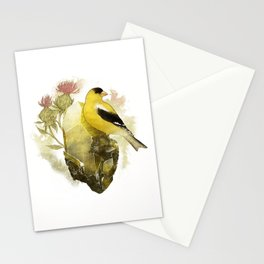 Goldfinch Bird and Anglesite Crystals Stationery Cards