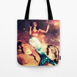 Vintage Mermaid Sparkle Tote Bag