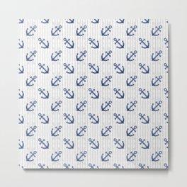 Navy Blue Anchor Pattern Metal Print
