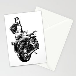Woman Motorcycle Rider Stationery Cards