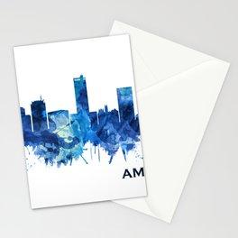 Amarillo Texas Skyline Blue Stationery Cards