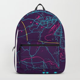 Halle Neon City Map, Halle Minimalist City Map Art Print Backpack