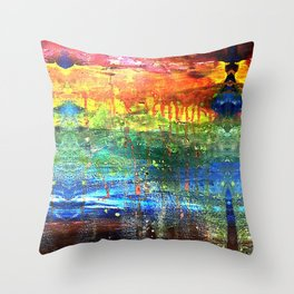 abstract painted rainbow Throw Pillow