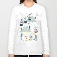 ski Long Sleeve T-shirts featuring SKI LIFTS by BLUE VELVET DESIGNS
