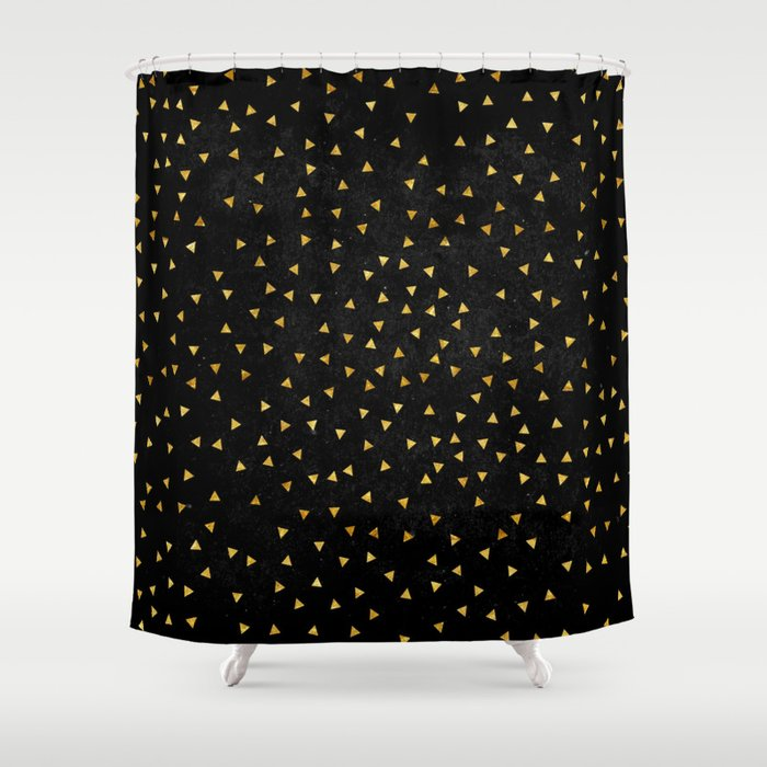 Black and Gold Grunge Shower Curtain