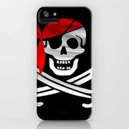 Jolly Roger pirate waving flag with skull and swords with red bandana on a silk drape  iPhone Case