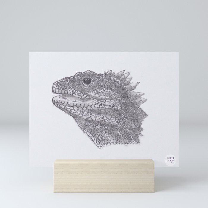 Happy Tuatara Sketch Mini Art Print