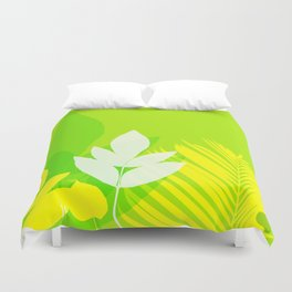 Jungle neon green Leaves Palm Yellow Duvet Cover