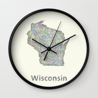 wisconsin Wall Clocks featuring Wisconsin map by David Zydd