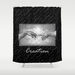 Creation - in Black & White Shower Curtain