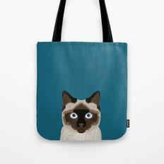 Ezra - Siamese Cat, Cute Kitten Retro Cat Art cell phone case, siamese, cute cat Tote Bag