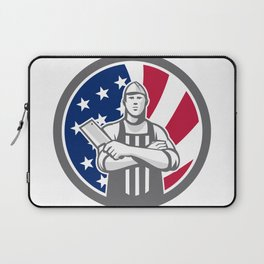 American Butcher Front USA Flag Icon Laptop Sleeve