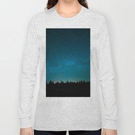 Blue Milky Way Galaxy Pine Tree Silhouette Night Star Sky Long Sleeve T-shirt