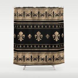 Fleur-de-lis Luxury ornament - black and gold Shower Curtain