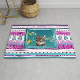Turquoise Frame - Tropic Fishes & Tiger Cat Rug