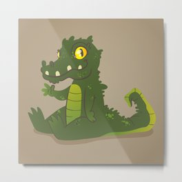 Baby Crocodile Metal Print