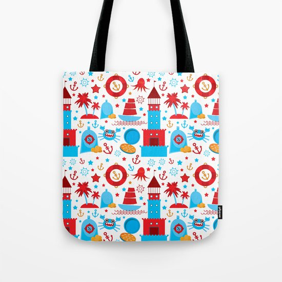 pattern with sea icons on white background. Seamless pattern. Red and blue by ekaterinap