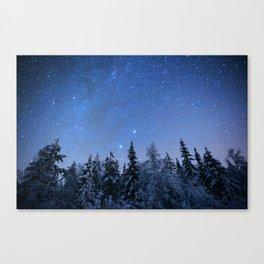 Shimmering Blue Night Sky Stars 2 Canvas Print