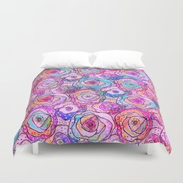 Watercolour & Rainbow Ink Flowers , Colorful Floral Painting Duvet Cover