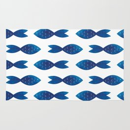 Blue watercolor fish Rug