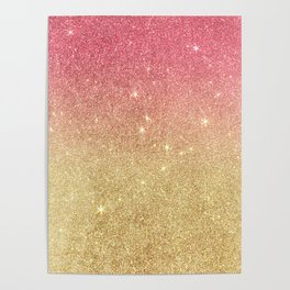 Pink abstract gold ombre glitter Poster