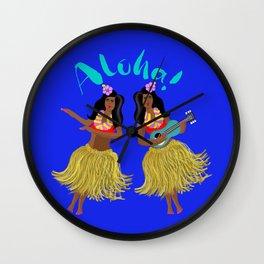 Aloha Hawaii Dancing and Ukulele Playing Ladies Wall Clock
