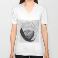 asian V-neck T-shirts featuring asian child by Caterina Zamai