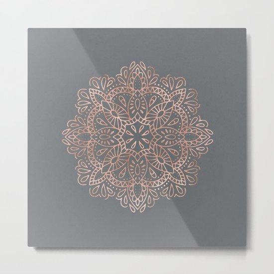 Mandala Rose Gold Pink Shimmer on Soft Gray by Nature Magick Metal Print
